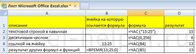 ЧАС(время в формате числа)
