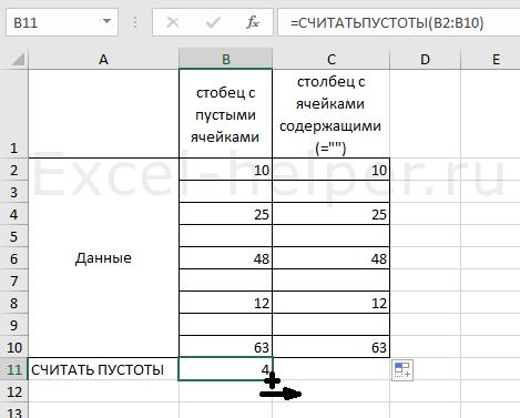 СЧИТАТЬПУСТОТЫ в Excel