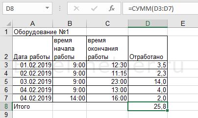 Сумма временных отрезков в десятичных долях